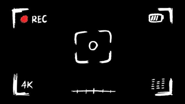 Affichage d'enregistrement vidéo dessiné à la main avec écran de viseur de cadre de caméra doodle