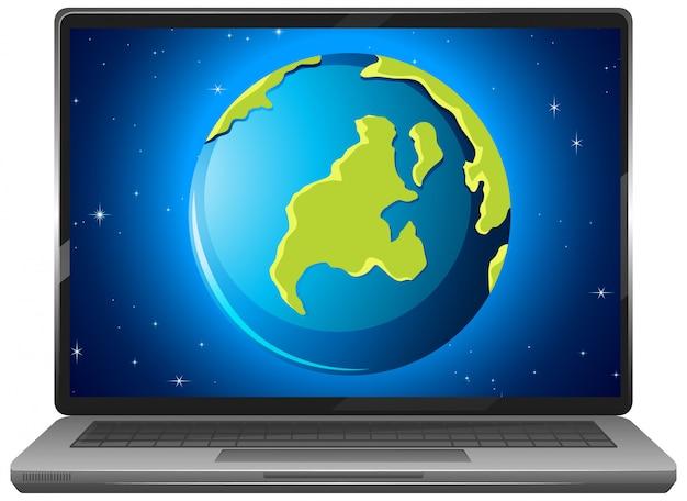 Affichage graphique de la terre sur écran d'ordinateur portable