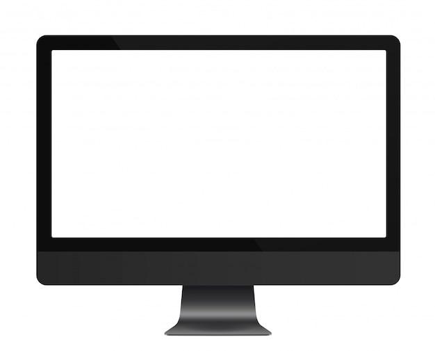 Affichage d'ordinateur gris foncé avec un écran blanc vide isolé. illustration vectorielle