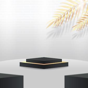 Affichage de podium 3d blanc et noir avec des feuilles d'or tropicales