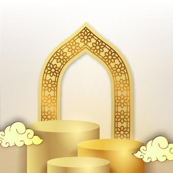 Affichage de podium de cylindre 3d avec motif arabe de masque de porte avec ornement de nuage de flotteur