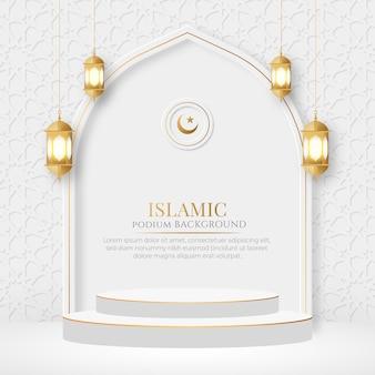 Affichage de produit 3d islamique podium ramadan kareem vente bannière ornement lanterne fond