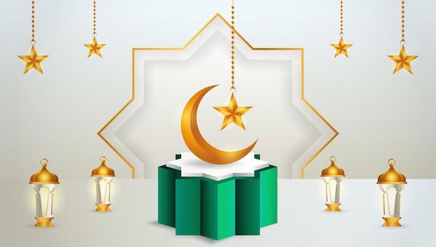 Affichage de produit 3d sur le thème du podium vert et blanc islamique avec croissant de lune, lanterne et étoile pour le ramadan