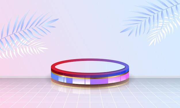 Affichage de produit de podium de cylindre en arrière-plan de couleur pastel