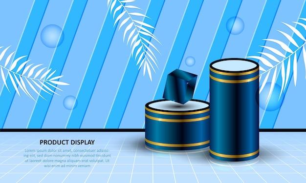 Affichage de produit de podium de cylindre sur fond bleu