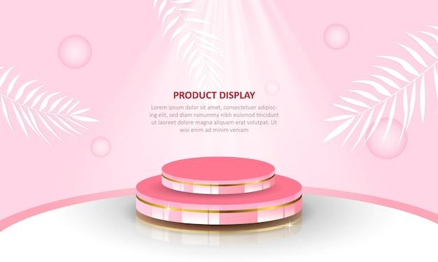 Affichage de produit de podium de cylindre sur fond rose