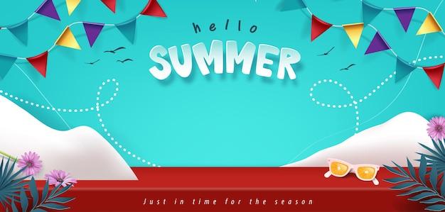 Affichage de produit de salle de table de studio de bannière d'été