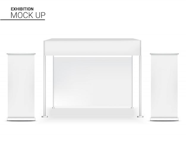 Affichage de stand réaliste 3d pop pour exposition de promotion marketing de vente de magasin avec illustration de fond de modèle de bannière enroulable