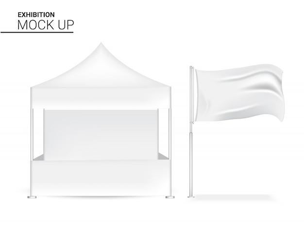 Affichage de stand réaliste 3d vierge pop pour l'exposition de promotion du marketing de vente de magasin avec le drapeau