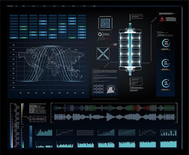 Affichage tête haute de l'interface utilisateur graphique futuriste