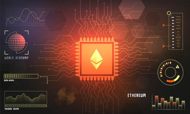 Affichage tête haute d'une plateforme de trading ethereum (eth).