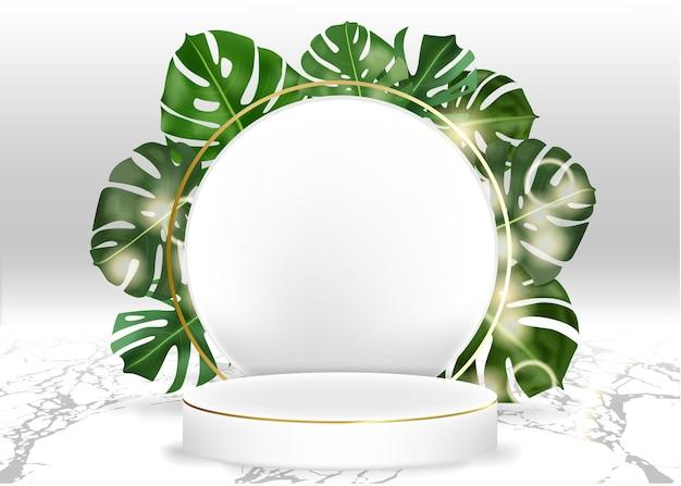 Affichage vectoriel 3d podium de cylindre de marbre blanc dans un décor de fond blanc par la scène des feuilles de monstera