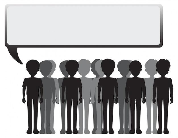 Un affichage vide avec un groupe de personnes