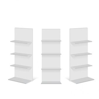 Affichage de vitrine vide vide avec des étagères de vente au détail.