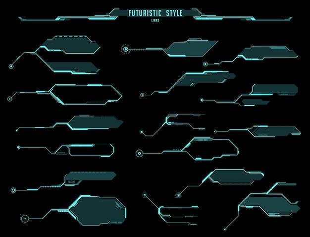 Affichages futuristes hud, écrans et boîtes d'informations, interface ui vectorielle du jeu sci fi. titre de légende d'hologramme et étiquette de barre modèles numériques modernes avec flèches et cadres, conception d'interface graphique d'affichage tête haute