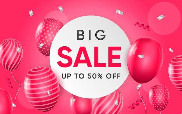 Affiche 3d de grande vente jusqu'à 50% de réduction sur l'illustration de conception réaliste de la publicité