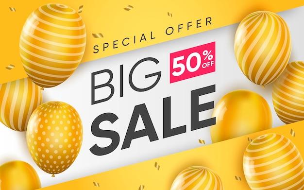 Affiche 3d de grande vente avec offre spéciale dans un design réaliste