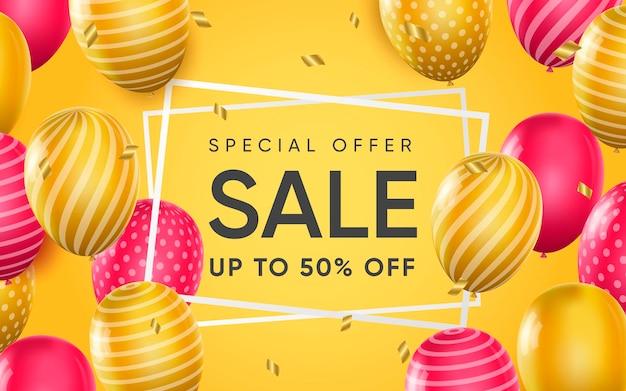 Affiche 3d de l'offre spéciale de vente jusqu'à 50% de réduction sur l'illustration de conception réaliste de la publicité