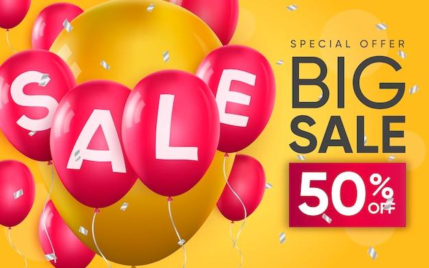 Affiche 3d de texte de vente sur des ballons en illustration de conception réaliste de la publicité