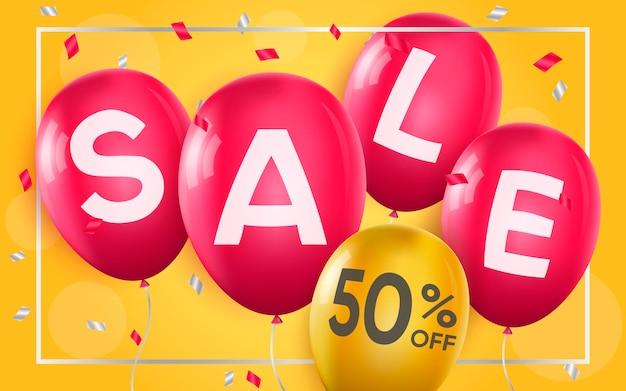 Affiche 3d de vente à 50 pour cent d'illustration de la publicité