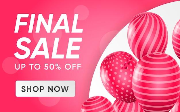 Affiche 3d de la vente finale jusqu'à 50% de réduction sur les prix réduits dans une illustration de conception réaliste de la publicité