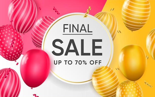 Affiche 3d de la vente finale jusqu'à 70% de réduction sur l'illustration de conception réaliste de la publicité