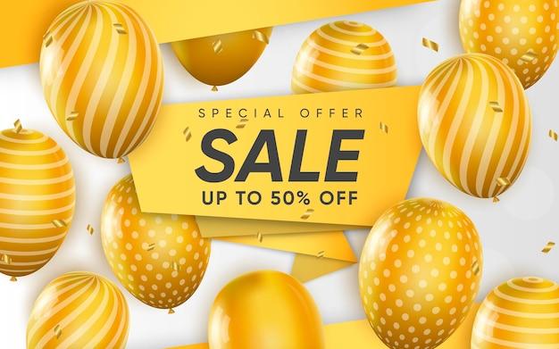 Affiche 3d de vente jusqu'à 50% de réduction sur l'illustration de conception réaliste de la publicité
