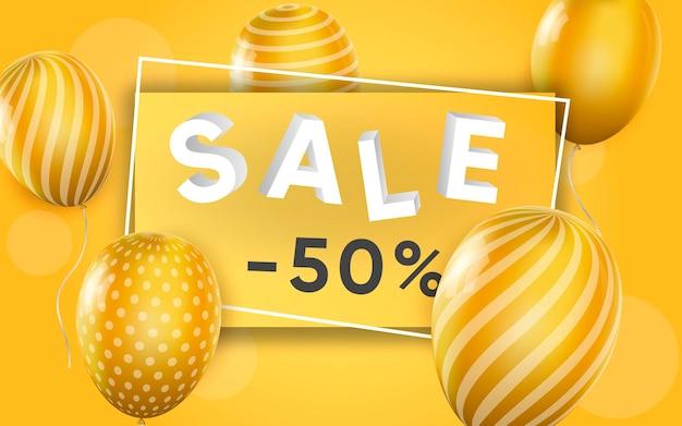 Affiche 3d de vente à des prix réduits de 50% dans une illustration de conception réaliste de la publicité