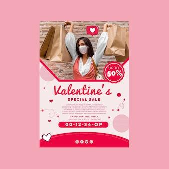 Affiche a4 de vente de la saint-valentin