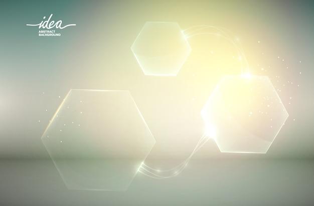 Affiche abstraite d'ampoule jaune avec équipement électrique et illustration d'hexagones de différentes tailles