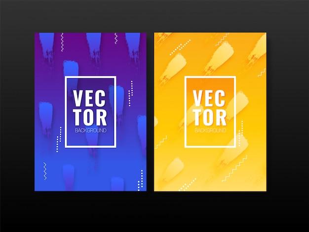 Affiche abstraite bleue et jaune avec des coups de pinceau aquarelles.
