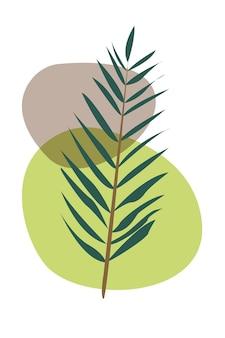 Affiche abstraite feuilles et fleurs branche avec feuilles illustration abstraite de vecteur stock