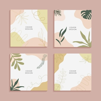 Affiche abstraite de feuilles tropicales pour les histoires de médias sociaux. fond abstrait. papier peint feuilles abstraites