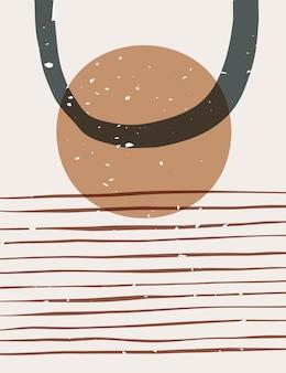 Affiche abstraite avec des formes géométriques et organiques. dessiné à la main contemporain