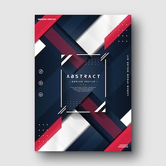 Affiche abstraite moderne bleu marine rouge minimaliste