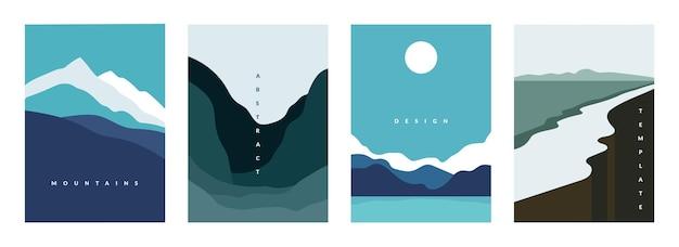 Affiche abstraite de montagne. bannières de paysages géométriques avec collines, rivières et lacs, scènes de nature minimalistes. flyers graphiques d'illustration vectorielle avec flux et flux incurvé