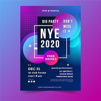 Affiche abstraite de la soirée du nouvel an