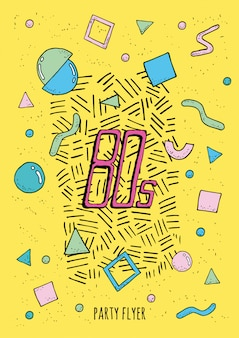 Affiche abstraite style memphis des années 80 avec des formes géométriques d'objets. flyer de fête coloré à la mode.