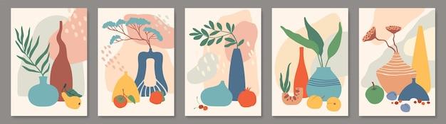Affiche abstraite avec vases nature morte avec vases en céramique ensemble de plantes et fruits