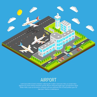 Affiche de l'aéroport isométrique