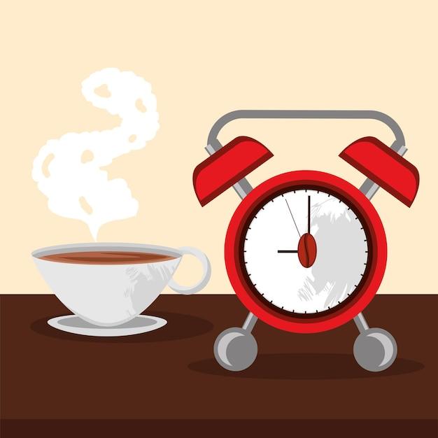 Affiche avec alarme de l'heure du café