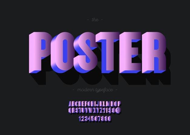 Affiche alphabet 3d typographie à la mode de style audacieux pour la décoration