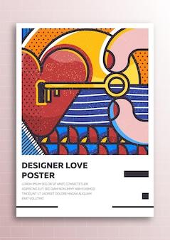 Affiche d'amour avec des éléments de style plat