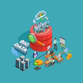 Affiche d'analyse isométrique du concept d'analyse des données