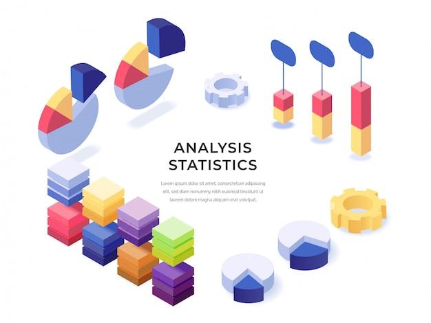 Affiche d'analyse isométrique de statistiques d'analyse