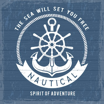 Affiche d'ancre nautique. symboles de la marine marina océan sur le bateau ou le navire pour la pancarte rétro marin. vintage pirates de mer