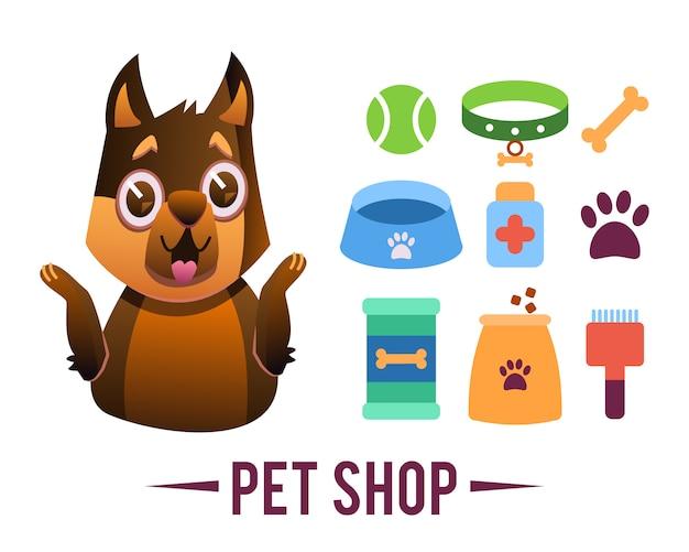 Affiche d'animalerie, chien avec articles pour animaux