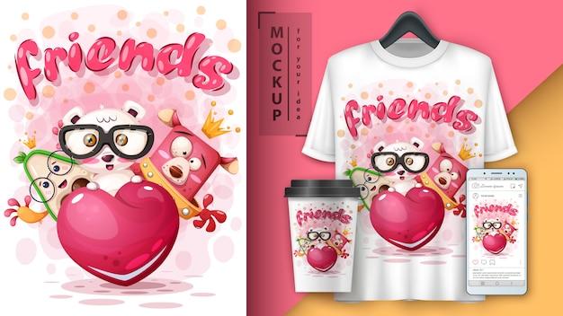 Affiche des animaux amis et merchandising