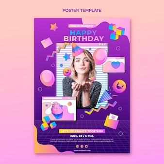 Affiche d'anniversaire dégradé rétro vaporwave