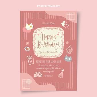Affiche d'anniversaire dessinée à la main à l'aquarelle
